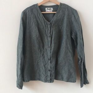 Flax green button down v neck blouse